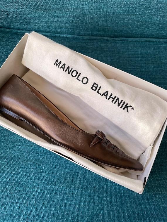 Vintage 90's Manolo Blahnik Bronze Pointy Toe Str… - image 8