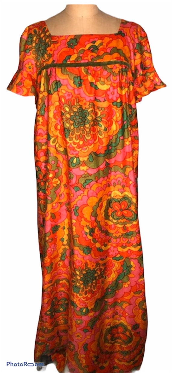 Vintage 60's Bright Colorful Malia Of Hawaii Hono… - image 1