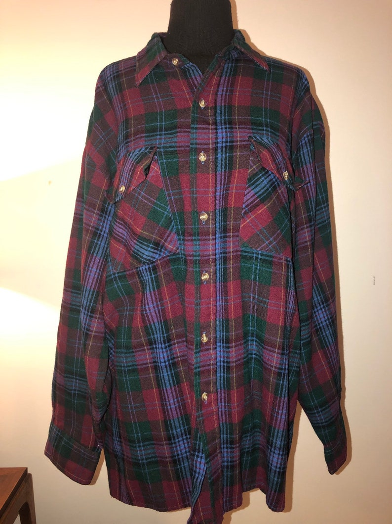 078ef3490ce Vintage 90 s Green Red Plaid Burnout Grunge Long Sleeve