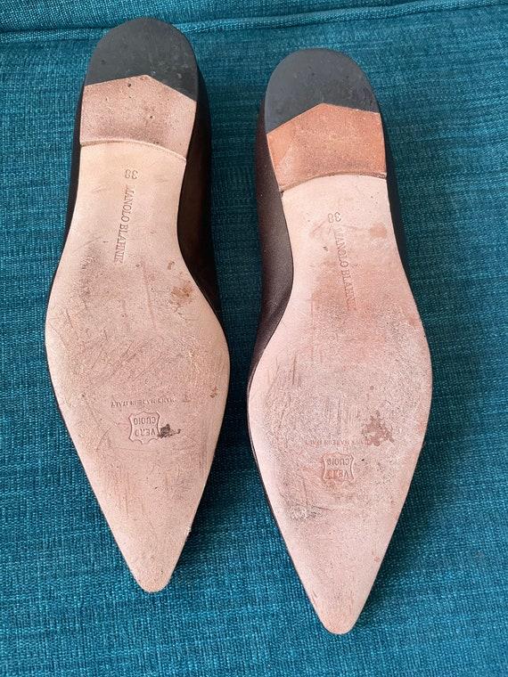 Vintage 90's Manolo Blahnik Bronze Pointy Toe Str… - image 9