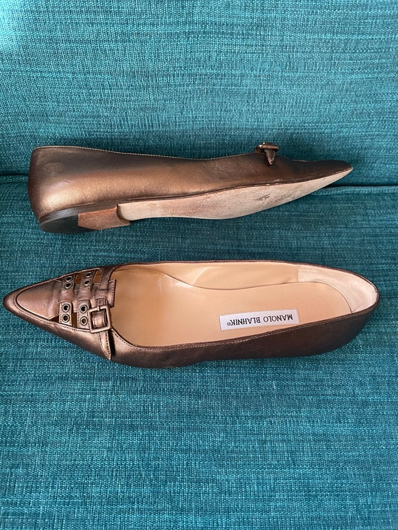 Vintage 90's Manolo Blahnik Bronze Pointy Toe Str… - image 4