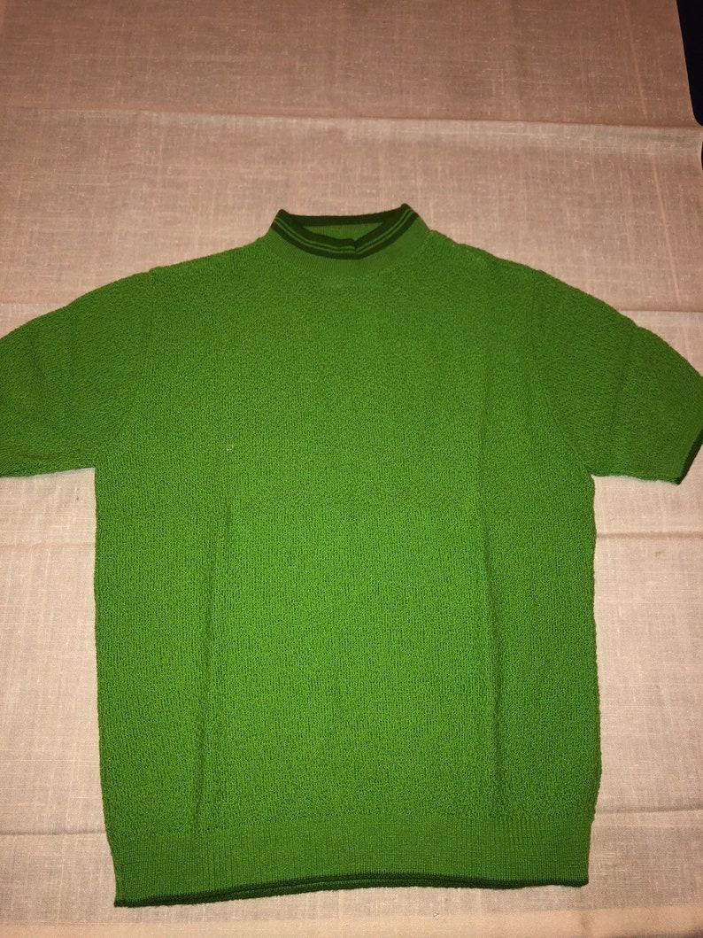 Vintage 60/'s Dunbarton by Jewel Avacado Green Acrylic High Colar Short Sleeve Groovy Go-Go Mod Sweater Top Shirt Med