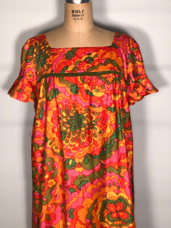 Vintage 60's Bright Colorful Malia Of Hawaii Hono… - image 4
