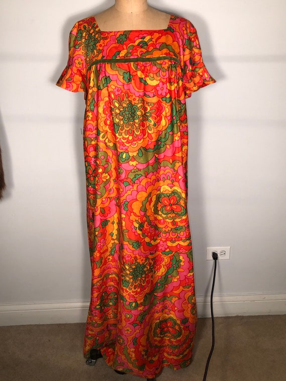 Vintage 60's Bright Colorful Malia Of Hawaii Hono… - image 2