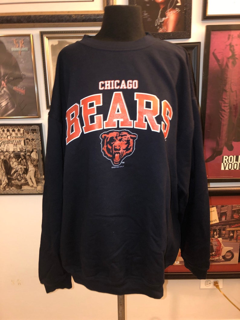 new product 92b8b 38a38 Vintage 90's Snap Classic 3XL Chicago Bears Logo Navy Sweatshirt Top  Monsters Of The Midway