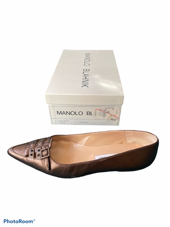 Vintage 90's Manolo Blahnik Bronze Pointy Toe Str… - image 1