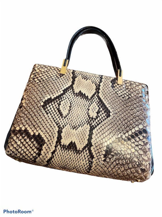 Vintage 60's Koret Python Print Leather Snakeskin… - image 1