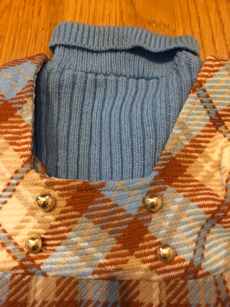 Brady Bunch /& Go Go Boots Fab 70/'s Alyssa 3T Toddler Plaid Dress And Blue Turtleneck Sweater Combo