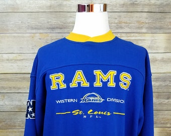 353d4b79 Los Angeles Rams St. Louis LEE Sport Blue & Yellow Pullover Premium Sweater  | Mens Size XL | 1990s Vintage NFL Sewn Western Division