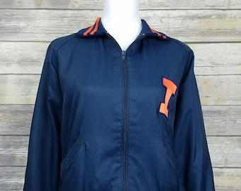 Vintage 80's University of Illinois letterman satin jacket orange Fighting Illini Delong embroidered football basketball baseball - Medium 2qiOdE0R1y
