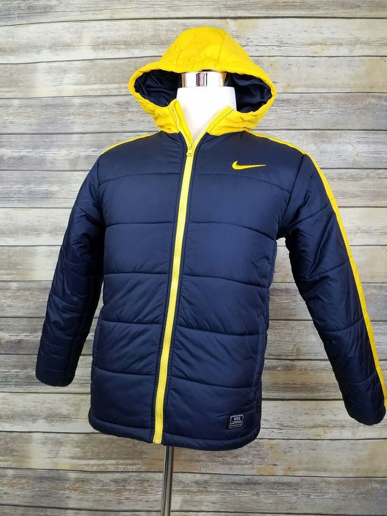 Desfavorable Factura George Stevenson  Nike Swoosh Vintage 1990s Winter Hooded Blue & Yellow Puffer | Etsy