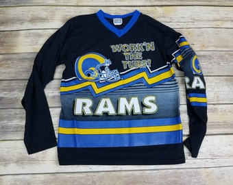Rare & Vintage 90s LA Rams Spell Out 50/50 NFL Football Long Sleeve Shirt   Size XLG-18   Youth xl 18-20   Unique 1990s Sportswear