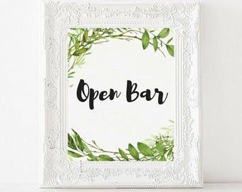 Open Bar Printable Wedding Sign   Greenery Watercolor   Garden Wedding   Wedding Reception Drinks Table Sign   Wedding Decor   Printable art
