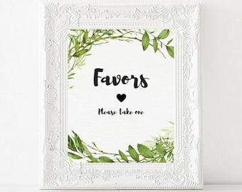 Favors Printable Wedding Sign   Greenery Watercolor Garden Wedding Sign   Favors Sign   Gift Table Sign   Wedding Decor   Bridal Shower PDF
