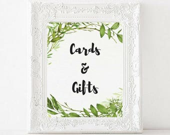 Cards and gifts printable wedding sign   Greenery Watercolor   Garden Wedding   Card table sign   Gift table   Reception sign   PDF