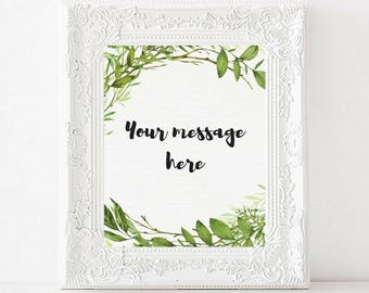 Custom printable wedding sign   Greenery Watercolor   Custom Garden Wedding Sign   Wedding Decor   custom printable wedding sign