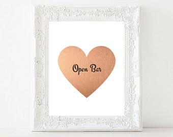 Open Bar printable wedding sign   Custom wedding sign   Rose gold Foil wedding sign   Heart   Gold wedding sign   Instant download Print art