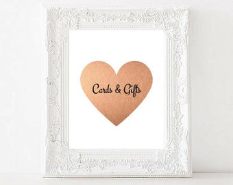 Cards and Gifts Printable Wedding Sign   Rose Gold Foil Heart   Wedding printable   Wedding Decor Rose Gold   Wedding Reception Sign   PDF