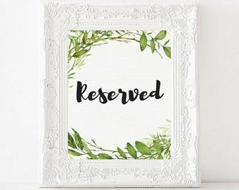 Reserved Printable Wedding Sign   Greenery Watercolor   Garden Wedding   Reserved for Family   Reserved Table Sign   INSTANT DOWNLOAD