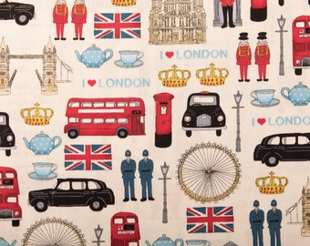 Cheap New Remnants Offcut Fabric Polycotton LONDON RED BUS BUNTING