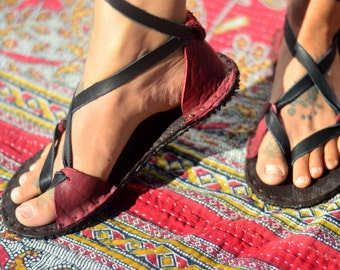 Women's INFINITY Lace Up ANKLE SANDALS. Handmade Bison Leather Barefoot Running Hiking Adjustable Roman Hippie Minimalist Durable Sexy Soft