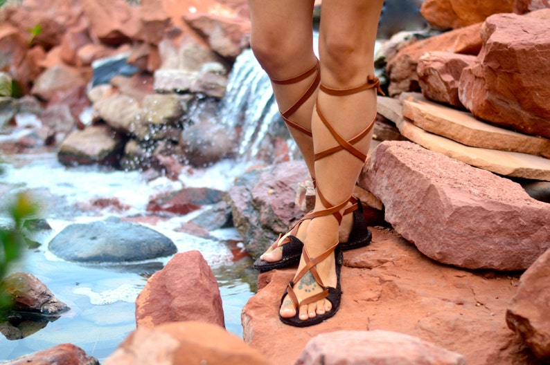 aebefaaf63c8 Women s Lace Up KNEE HIGH SANDALS. Handmade Bison Leather