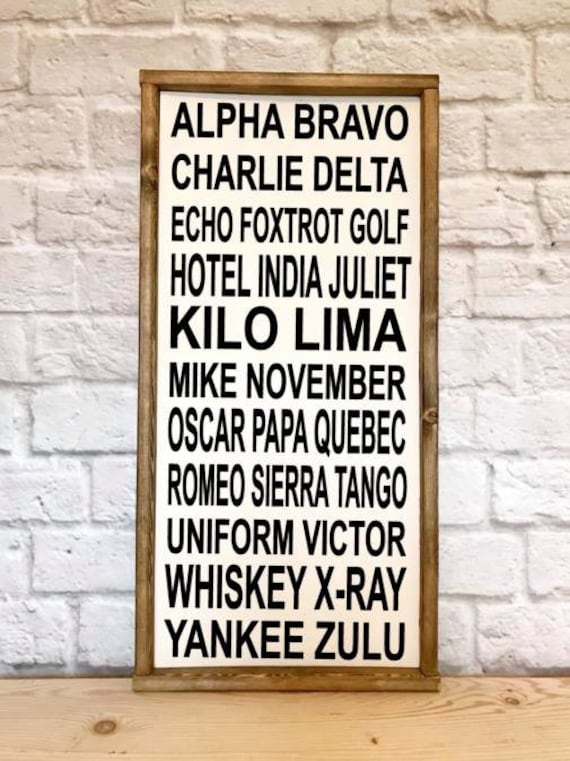 Phonetic Alphabet Wood Sign Framed Sign Alpha Bravo Delta Etsy