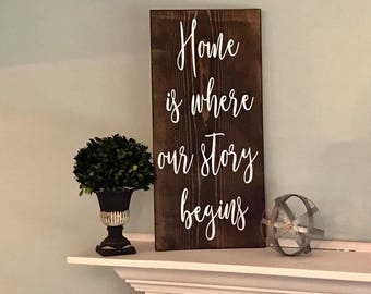 Home is where our story begins wood sign
