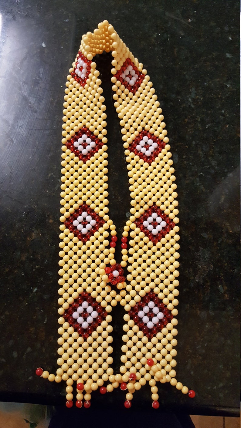 Cream mixed Chieftancy Large Neck beaded Necklace Igbo Chief