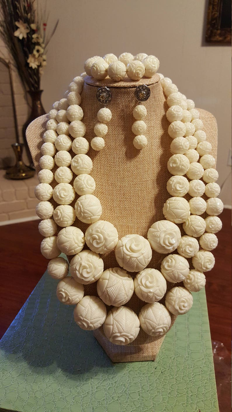 02c53c7f1e Large Ivory Carved Coral Bead Set/ Nigerian Bridal Wedding Set/ Bridal Set/  Wedding Ivory Bead Set/ Special Coral Beads Set
