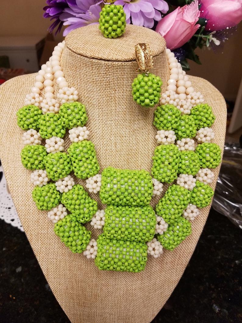 Lemon Green Mix off white Bead Set Nigerian Wedding Beads