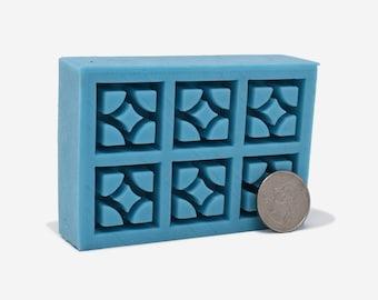 1:12 Scale Empress Breeze Block Mold   midcentury modern miniature   silicone mold   diy craft supply   dollhouse   miniature building