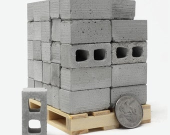 1:12 Scale Cinder Block Pallet (50pk)   112 scale diorama concrete block   modern dollhouse   architect gift   gift for mom dad   fun unique
