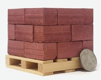 1:6 Scale Mini Red Brick Pallet 24pk   gift for men   dad gift   diorama   desk accessory   modern dollhouse   modern miniature   architect