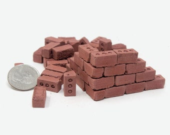 1:12 Scale Red Bricks (50pk)   112 scale diorama   modern dollhouse supply   architect gift   gift for mom   gift for dad   dad gift