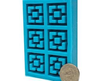 1:12 Scale Vista Vue Breeze Block Mold   midcentury modern miniature   silicone mold   diy craft supply   dollhouse   miniature building