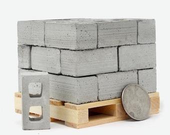 1:12 Scale Concrete Block Pallet (24pk)   desk accessory   desk decor   architect gift   office accessories   mini cinder block   diorama