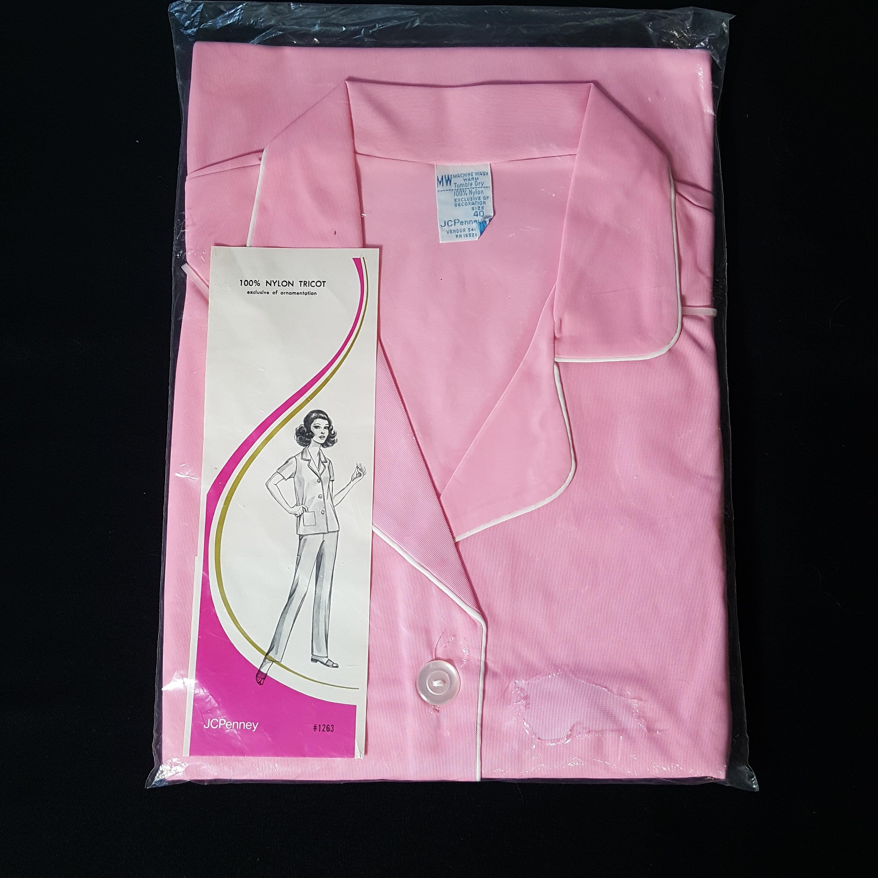 Vintage 1960\'s JCPenney Pink Nylon Pajama Set Sz 40 White