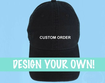 Design Your Own Dad Hat Embroidered Baseball Black Cap Low Profile Custom  Strap Back Baseball Hat - For Details Please Read Description 94aacd3c3e4