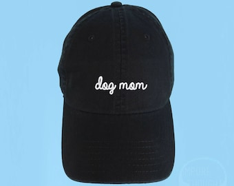 DOG MOM Dad Hat Embroidered Baseball Black Cap Low Profile Custom Strap Back Unisex Adjustable Cotton Baseball Hat