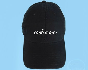 COOL MOM Dad Hat Embroidered Baseball Black Cap Low Profile Custom Strap Back Unisex Adjustable Cotton Baseball Hat