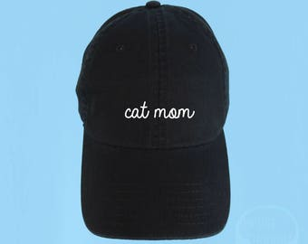 CAT MOM Dad Hat Embroidered Baseball Black Cap Low Profile Custom Strap Back Unisex Adjustable Cotton Baseball Hat