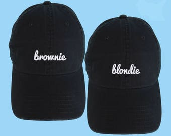 9a515ece77a Blondie and Brownie SET OF 2 Dad Hats Embroidered Baseball Black Cap Low  Profile Custom Strap Back Unisex Adjustable Cotton Baseball Hat