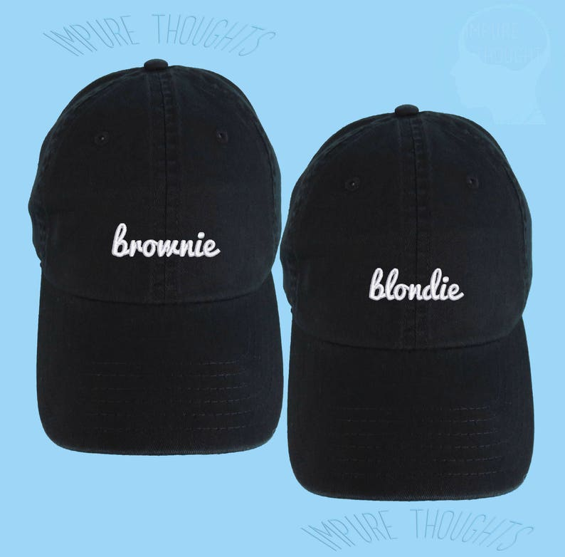 258a9c4955e16 Blondie and Brownie SET OF 2 Dad Hats Embroidered Baseball