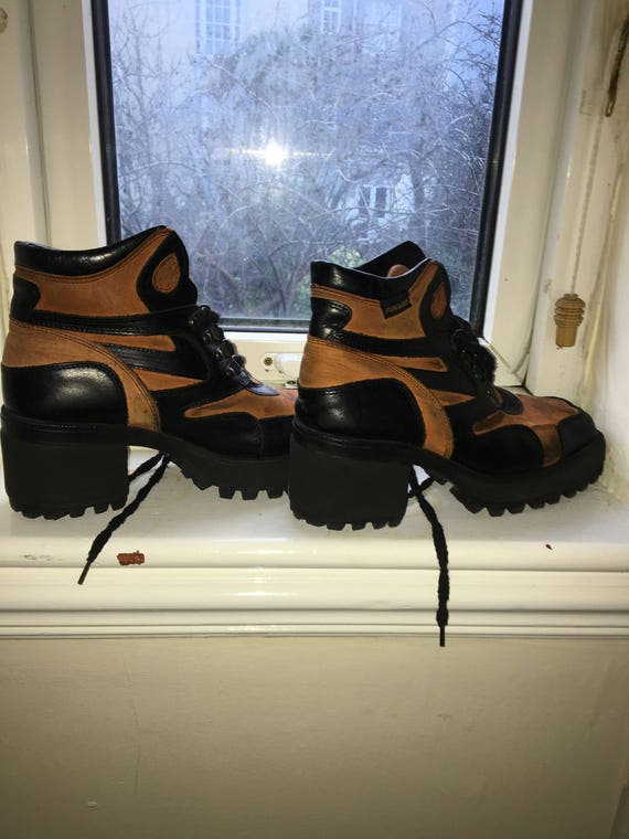 Leather chunky heeled orange and black boots