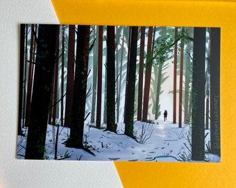 Morning stroll through the woods (Postcard / print)