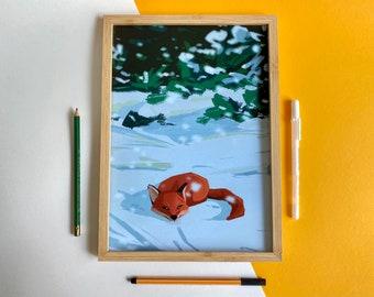 The fox in snow (Art print)