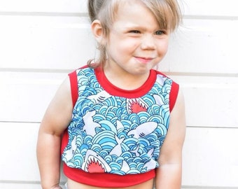 Shark Attack Top - crop top for baby toddler child