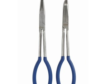 2 Brand New Extended Extra Long Straight Needle Nose Specialty Hand Tool Set Pliers and Bent Tip Head Tools Home Improvements Automotive