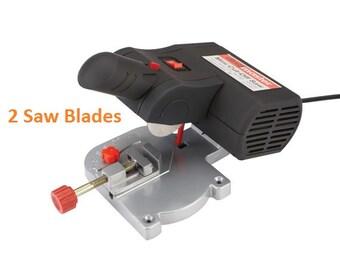 1 Miter Cutting Electric Saw Cuts-Off Wood Plastic & Metal Power Tool Miter Saw Cutter Electric Saw 0 - 45 deg. 2 Blades Included